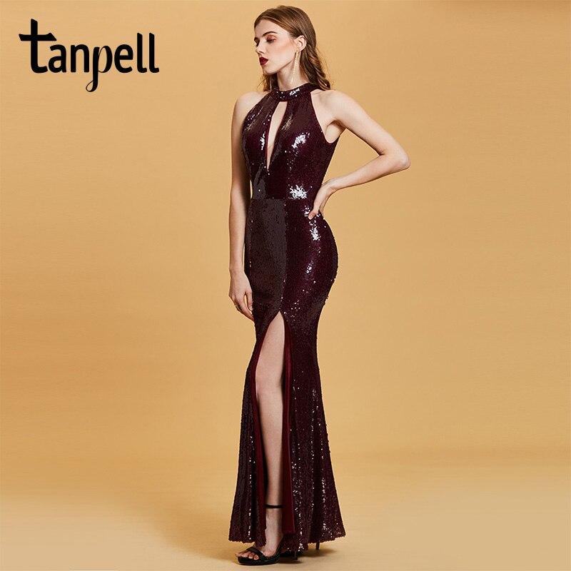 Tanpell Mermaid Evening Dress Burgundy Sequins Sleeveless Floor
