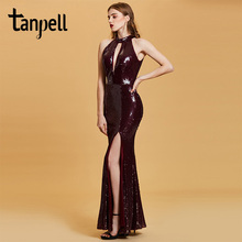 Tanpell mermaid evening dress burgundy sequins sleeveless floor length gown women halter split front formal long dresses