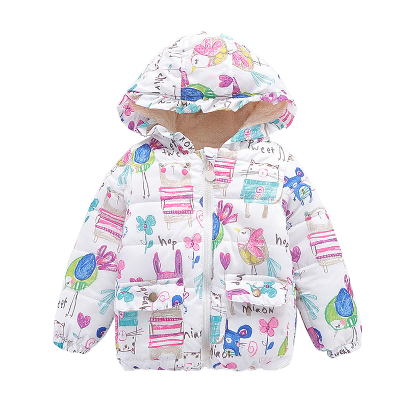 2017 New winter sytle children clothing fashion cartoon print girls Down & parkas 1-6Y  hooded children jackets coats for girls 2017 new winter sytle children clothing fashion cartoon print girls down & parkas 1 6y hooded children jackets coats for girls