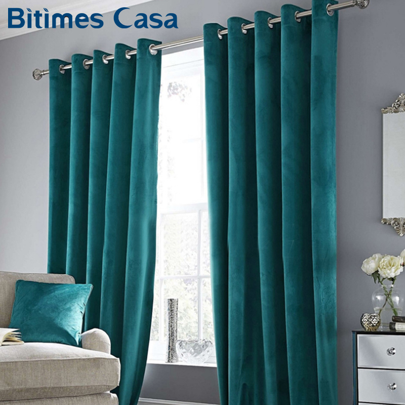 High Shading Luxury Velvet Blackout Windows Curtain Drape Panel For Living Room Bedroom Interior Home Decoration Solid Color(China)