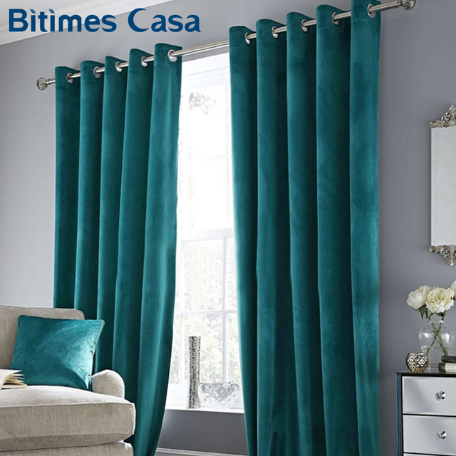 High Shading Luxury Velvet Blackout Windows Curtain Drape Panel For Living Room Bedroom Interior Home Decoration Solid Color Home Decor & Toys