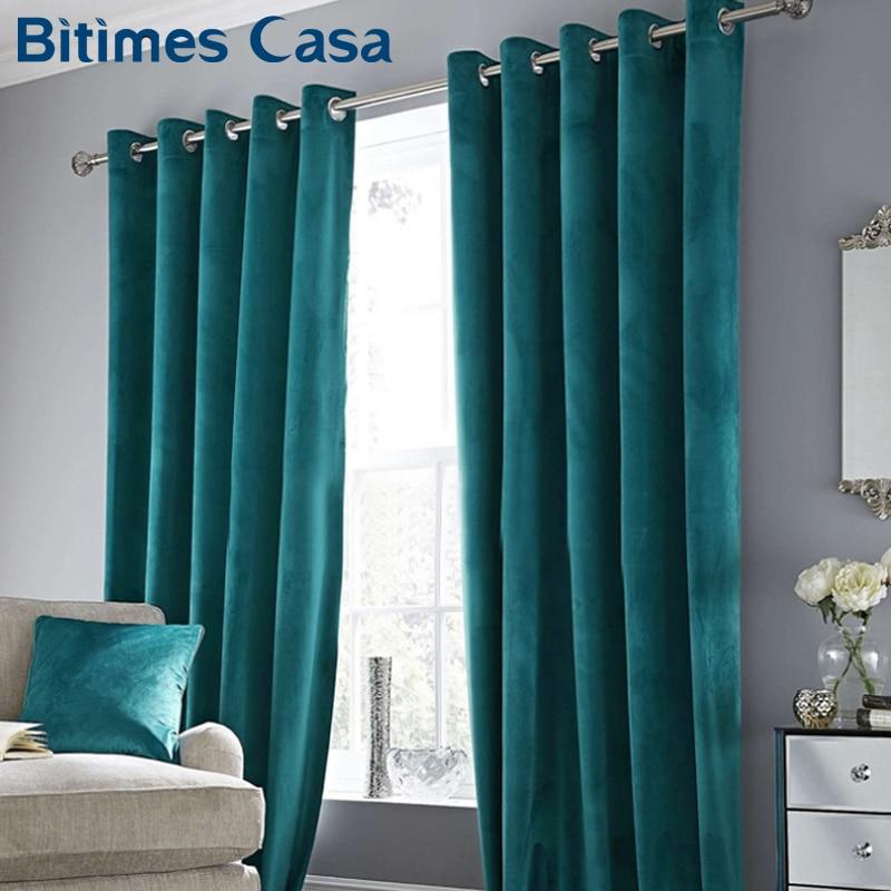 >High Shading Luxury Velvet Blackout Windows Curtain Drape Panel For Living <font><b>Room</b></font> Bedroom Interior <font><b>Home</b></font> <font><b>Decoration</b></font> Solid Color