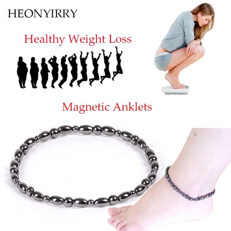 2 Pc/lot Weight Loss Magnet Bracelet+Anklet Black Stone Magnetic Therapy Bracelet Anklet W