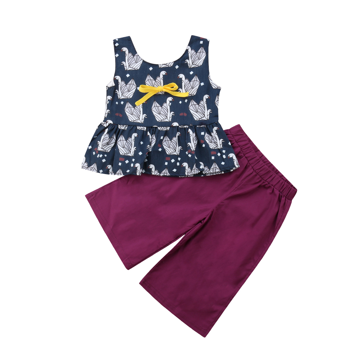2PCS Toddler Baby Girls Vest Tops Pants Kids Summer Clothes Outfits 1-5T