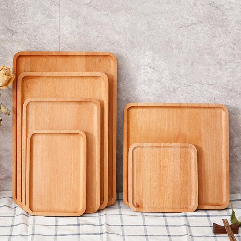 18.5*13*1.5cm/25*17*1.5cm Japanese style dishes Square combination Oak tray Restaurant Coffee Cake Wooden Tea Refreshment Plate