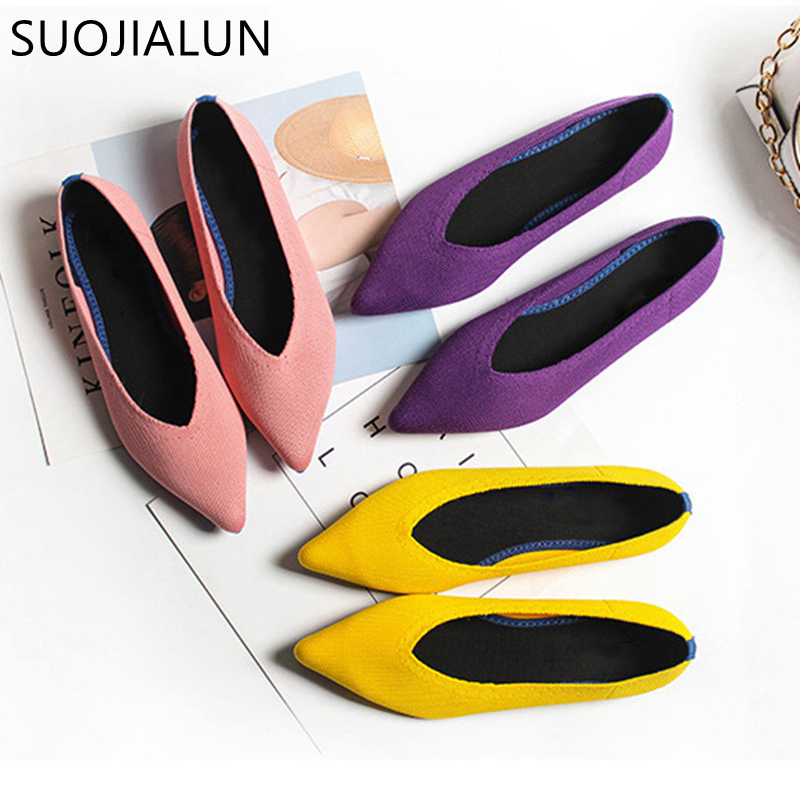 SUOJIALUN 2019 Spring Women Slip On Flat Loafers Pointed Toe Shallow Ballet Flats Shoes Casual Flat Shoes Ballerina Flats Zapa