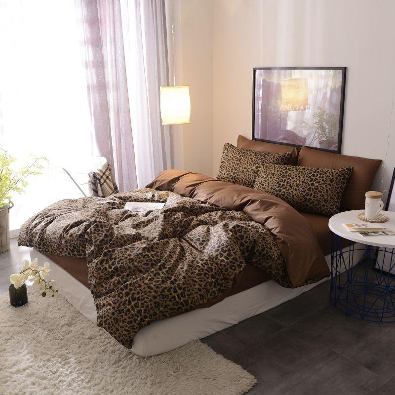 Image 3 - Brown leopard 100%Cotton Twin Bedding Set Queen King size Bed set  Duvet Cover Bed sheet Fitted sheet ropa de cama parure de litBedding  Sets