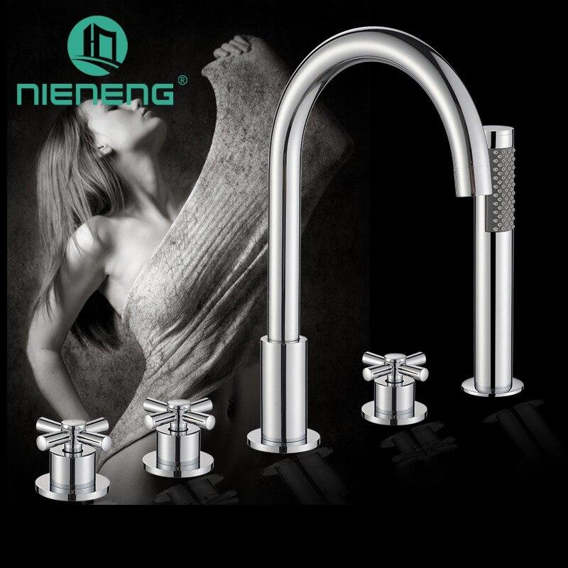 Nieneng Bathtub Taps Five Piece Faucet Shower Set 5 Holes Deck Mounted Bath tub Faucet shower Suit floor faucet ICD60633