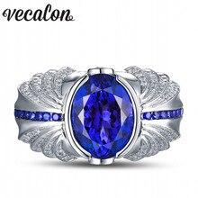Vecalon Vintage Design Hombres moda Joyería 5ct Sapphire Cz diamond wedding Band anillo de Plata de ley 925 anillo de Dedo Del Contrato
