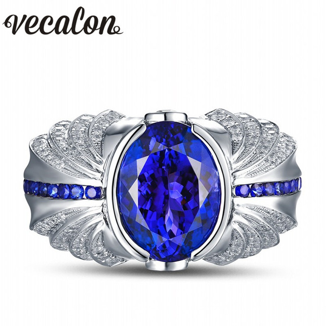 Vecalon Vintage Design Men fashion Jewelry wedding Band ring 5ct Sapphire Cz diamond 925 Sterling Silver Engagement Finger ring