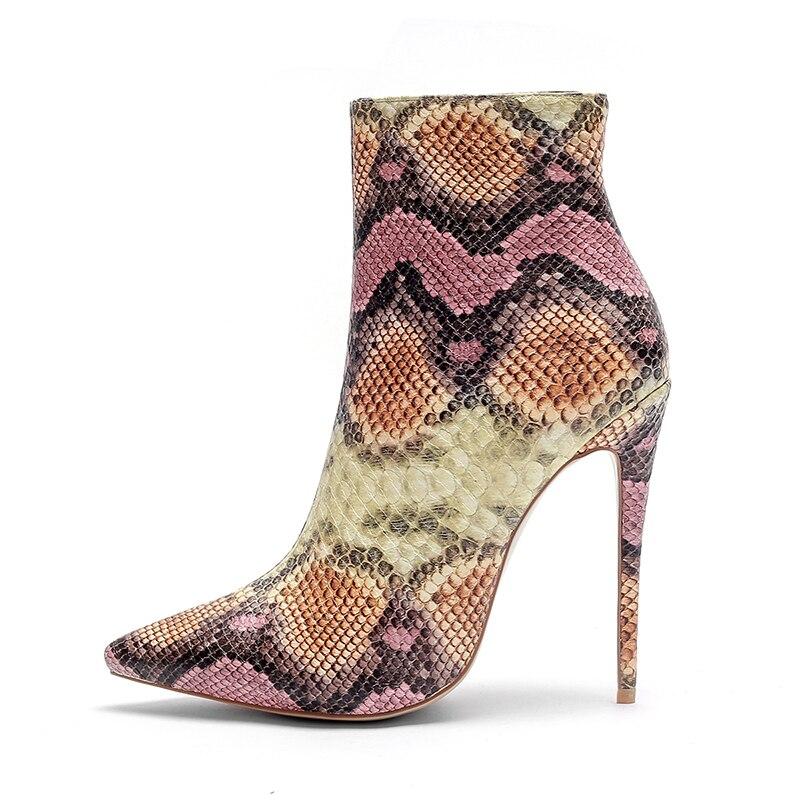 ISNOM 2018 Neue Dünne High Heels Frauen Stiefel Spitz Bootie Kurze Plüsch Weibliche Schuhe High Neck Schuhe Große Größe schlange Stiefel-in Knöchel-Boots aus Schuhe bei  Gruppe 2