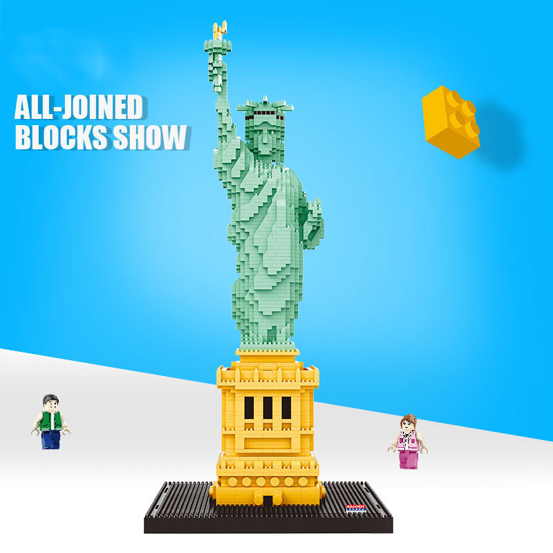City Compatible Legoed Architecture Building Blocks World Famous Architectural Model Statue Liberty Collection Toys child Gifts
