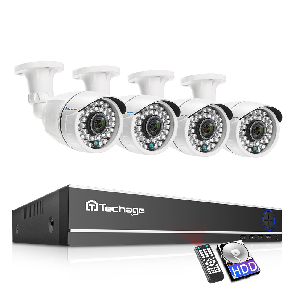 Techage 8CH 1080P AHD DVR CCTV System 4PCS 2MP Outdoor Analog CCTV Camera Video Home Security