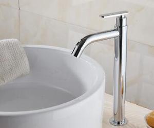 Image 4 - Tuqiu洗面器の蛇口単一のコールド浴室の蛇口洗面器ミキサー浴室のシンクの蛇口トールクローム真鍮の蛇口冷水