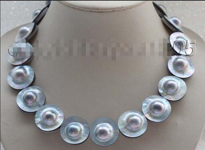 Доставка> блеск 17 Природный 22 мм синий Mabe жемчужное ожерелье 925 серебра застежка # f1719!