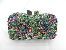 8239B Crystal Rose Flower Floral Fashion Wedding Bridal hollow Metal Evening purse clutch bag handbag
