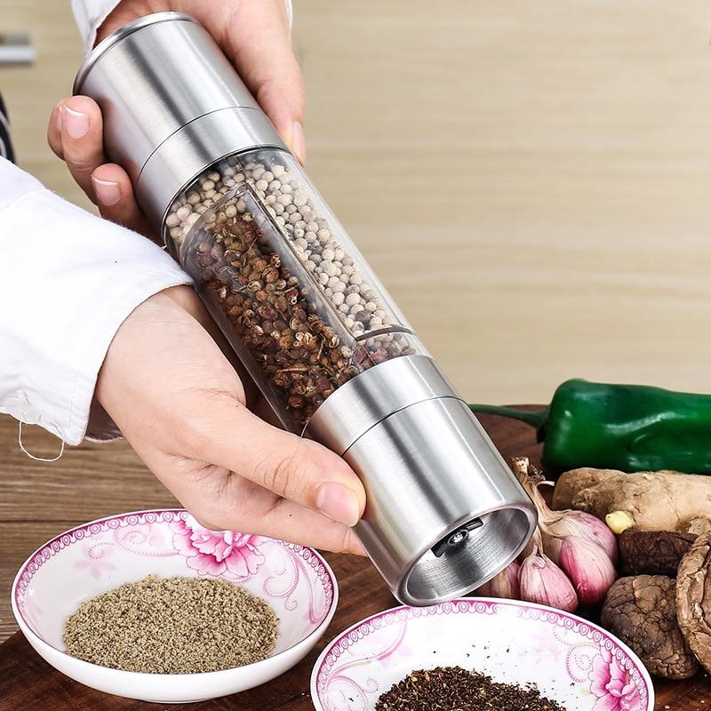 Molinillo de pimienta Manual de acero inoxidable 2 en 1, molinillo de sal y pimienta, accesorios de herramientas de cocina para cocinar|Molinillos| |  -