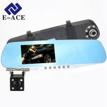 E-ACE Камеры Dvr Автомобиля Светодиодные Фонари Синий Зеркало Заднего Вида Цифровой Видеорегистратор Авто Регистратор Видеокамера Даш Cam Ночного Видения