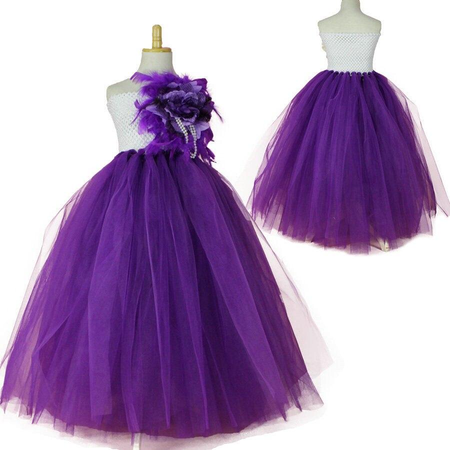 Moda crochet niños partido de la princesa flor niño vestido de niña ...