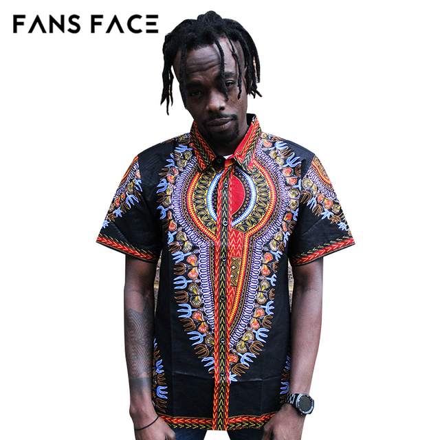 68fb1dd380c3b7 FANS FACE Mens African Clothing Nigeria Men's Short Sleeve Traditional  Pattern Plus Size Dashiki Top African Dresses For Women