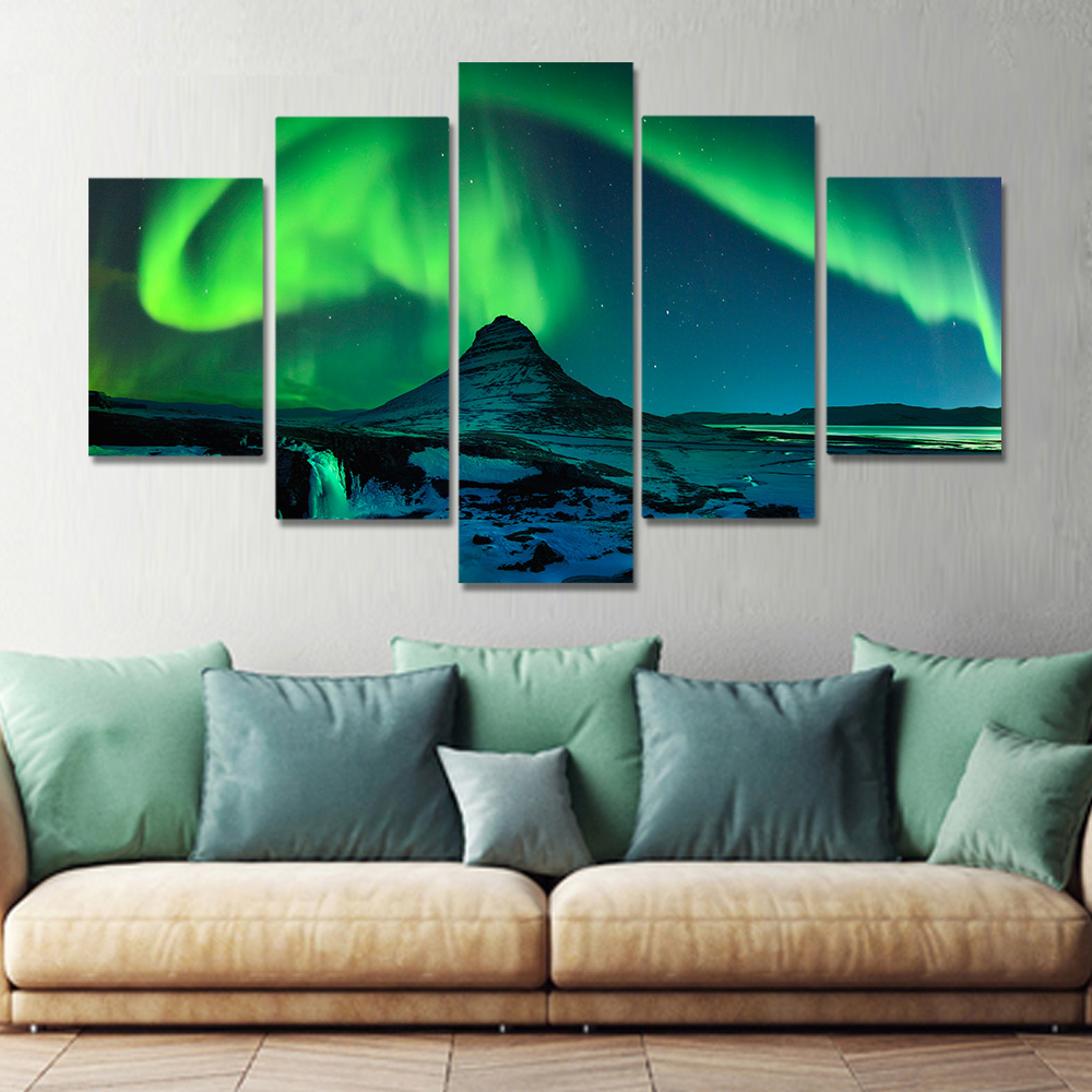 Unframed Canvas Prints Green Aurora Borealis Snow Mountain Night Prints Wall Pictures For Living Room Wall Art Decoration