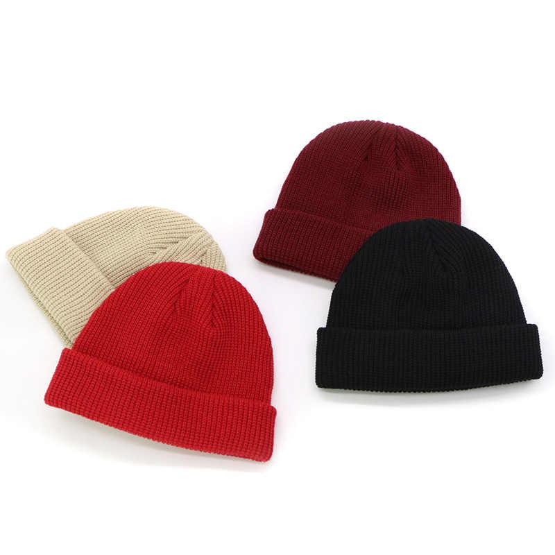 2fcf688434a3f ... 2018 New Men Knitted Hat Beanie Skullcap Sailor Cap Cuff Brimless Retro  Navy Style Beanie Hat ...