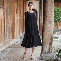 VOA Plus Size Silk Embroidery A Line Dress Long Sleeve Black Vintage Korean Casual Long Dresses Autumn vestidos sukienki A7521