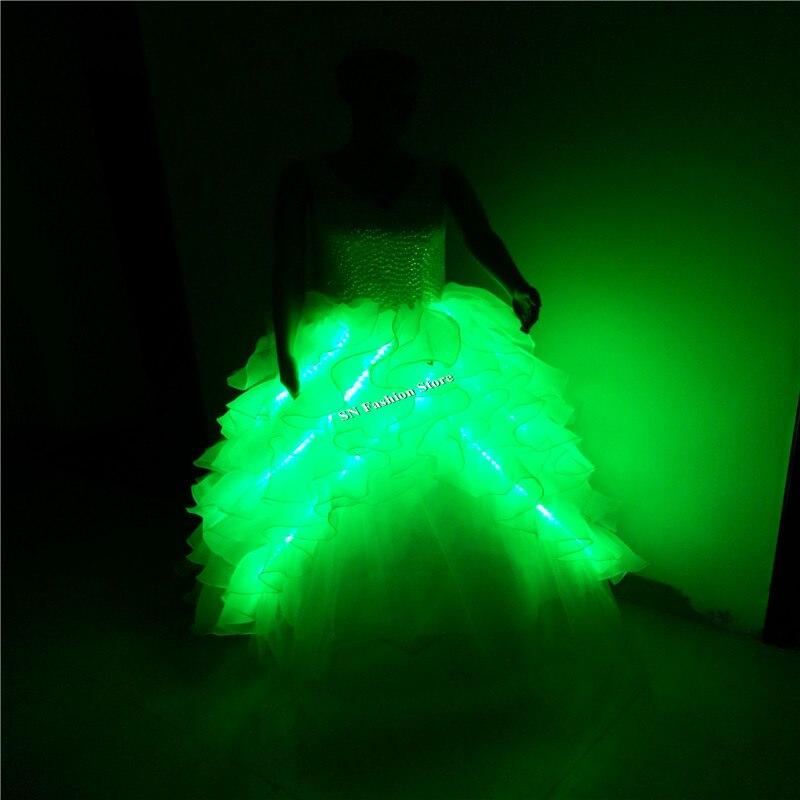 GG10 다채로운 볼룸 가수 춤의 LED 빛 의상 웨딩 드레스 바 DJ 디스코 파티 무대 모델 쇼 신부 저녁 의류