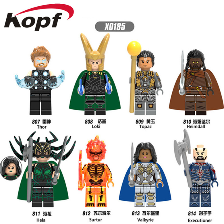 Super Heroes Single Sale Heimdall Surtur Valkyrie Thor Executioner Hela Loki Building Blocks Education Toys for children X0185 single sale super heroes colle black adam sharon carter dick grayson green lantern shazam building blocks children toys kl9005