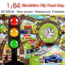 Vízálló 83 * 58CM autós játék játékminták Simulációs játékok City Road térkép Parkoló játszó matrica hordozható Floor Games 2 maps w / Guidepost