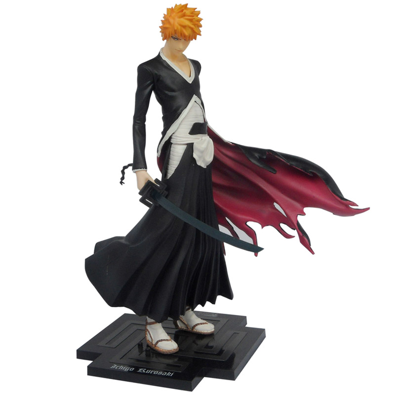 Free shipping 20cm Japan Anime Bleach Figure Toy Kurosaki Ichigo PVC Action figures toys GK lock Zangetsu Collection Model наклейка stickers 15