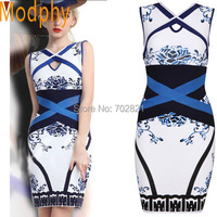 2017 nova verão elegante white & blue china print floral escavar tanque sem mangas sexy cocktail bandagem chinese dress hl943