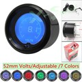 7 Colors  52mm Digital Volt Gauge Auto Car EVO LCD Black Voltmeter 8-18V Auto Gauge Car Meter YC100114