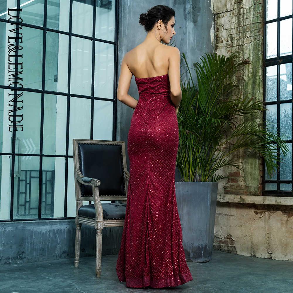 Любовь и лимонад без бретелек вырезанные решетки блестки проклеенные материал длинное платье LM81342-1WINERED