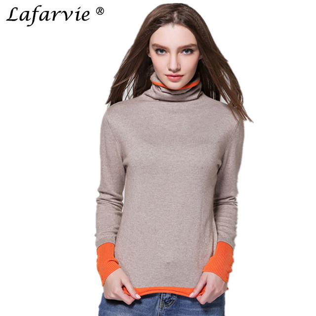 1e0fefcb9 Lafarvie Hot Sale Quality Cashmere Blended Autumn&Winter Cashmere Sweater  Scarf Collar Full Sleeve Knit Women Pullover 4Colors