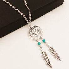 Ancient Silver Round Hollow Pendant Necklace Wishing Tree Life Tree Necklace Women Link Chain Necklaces Jewelry Gift SY369883