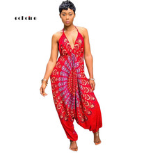 Echoine Women Jumpsuit National Style Print Sexy V-Neck Halter Backless Spaghetti Strap Sleeveless Loose Long Pant Female Romper fashionable ethnic style print spaghetti strap jumpsuit for women