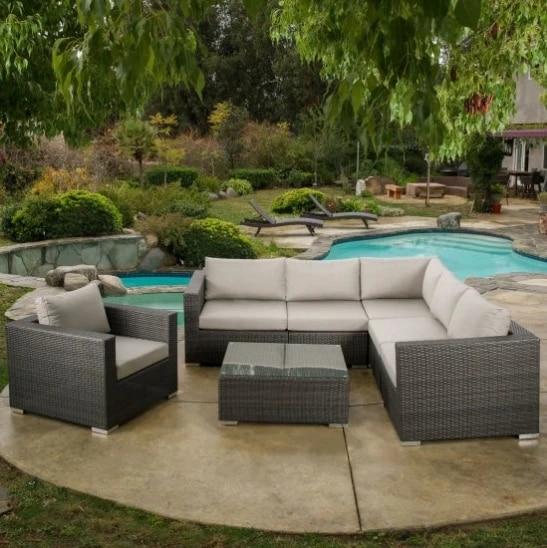 classical style nice patio furniture l type sofa rattan sofa set for sale