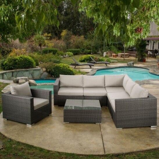Juego de sofás de ratán tipo L de muebles de patio de estilo clásico para la venta