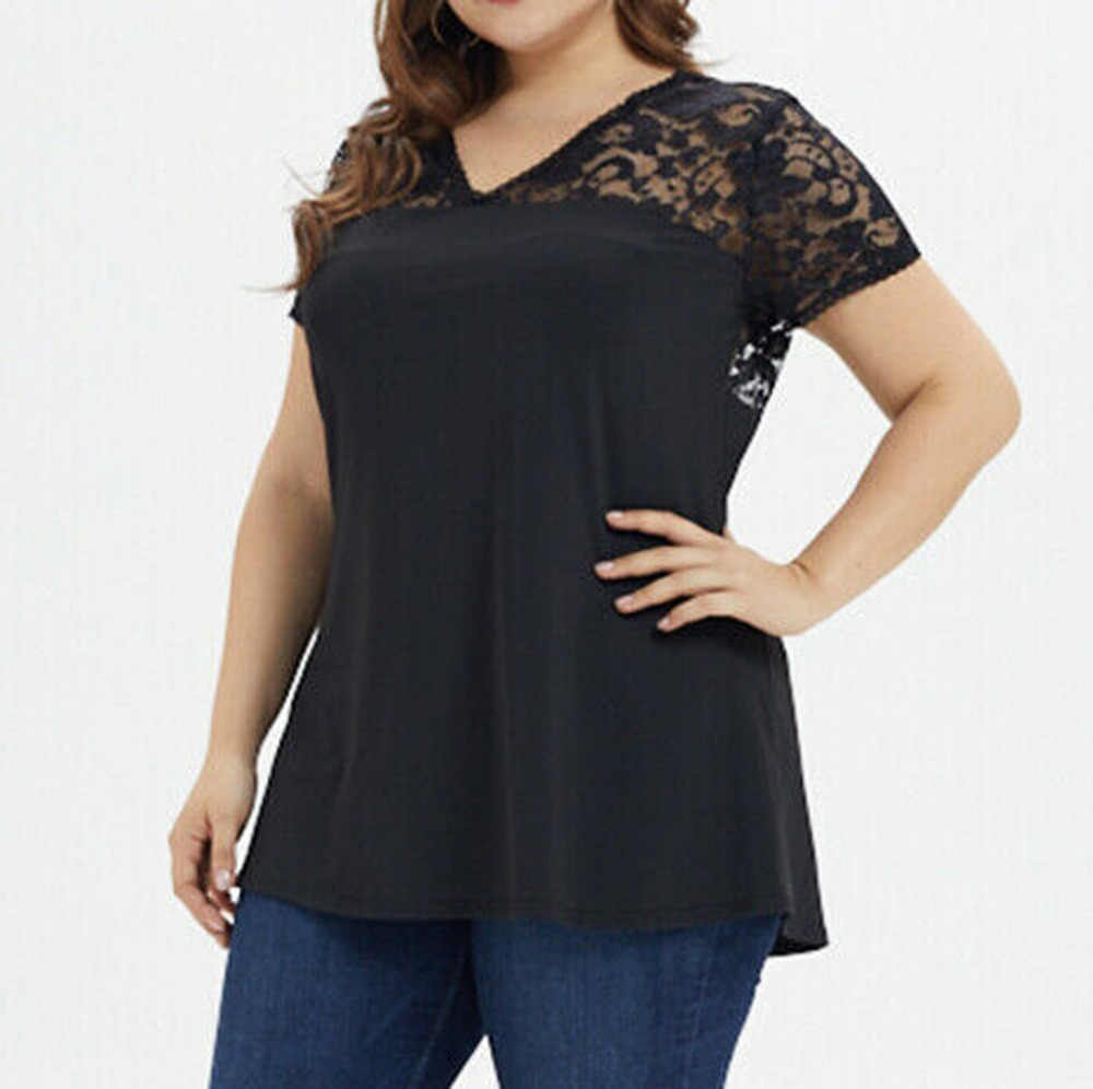 Lace Casual Plus Size Shirts Womens Short Sleeve Solid Color Summer Large Size V-Neck Black Blouses grote maten dames kleding#10