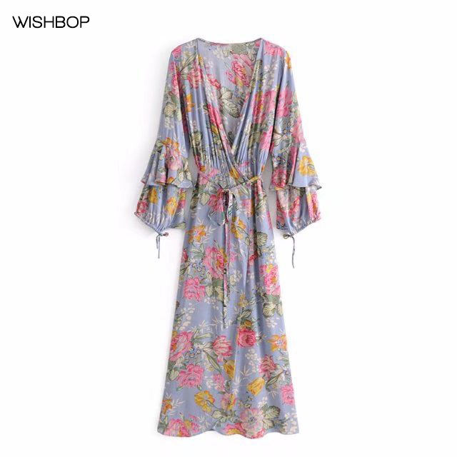 WISHBOP Summer 2018 NEW Woman Floral Printing V-neck Wrap Dress Long Sleeved  with Layered Ruffles Cuffs tied Waist Belt 548a25f9c