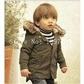 2016 розничная высокое качество! Новый стиль парни зима с капюшоном пальто детская одежда куртки для мальчиков детской одежды
