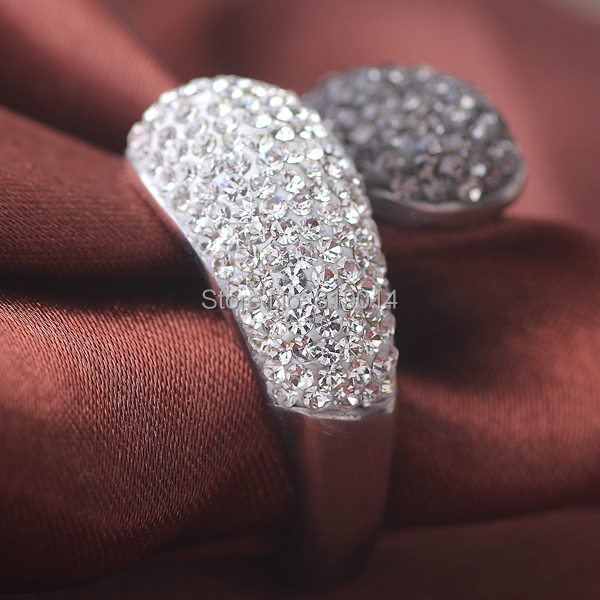 Fashion 316L Stainless steel jewelry Ring Double Round Crystal Head Rings for Wedding