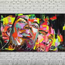 Palette knife portrait Face Oil painting Character figure canvas Hand painted Francoise Nielly wall Art picture 503