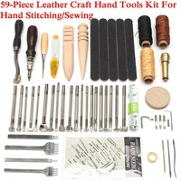Overvalue 59PCS Leather Craft Hand Tools Kit Thread Awl Waxed Thimble Kit For Hand Stitching Sewing Stamping DIY Tool Set