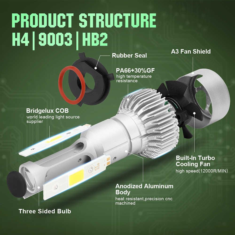 LED Car Headlight 10000LM/Set with H4 3 Sides Light H1 H3 H4 H7 H11 H13 H27 9004 HB3 9006 HB4 9007 HB5 Cree Lamps Bulb