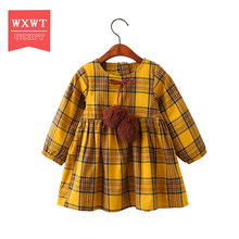 WXWT Girls Dress 2017 New Autumn Brand Girls Clothes England Style Plaid Fur Ball Bow Design Baby Girls Dress For 3-8Y(China)