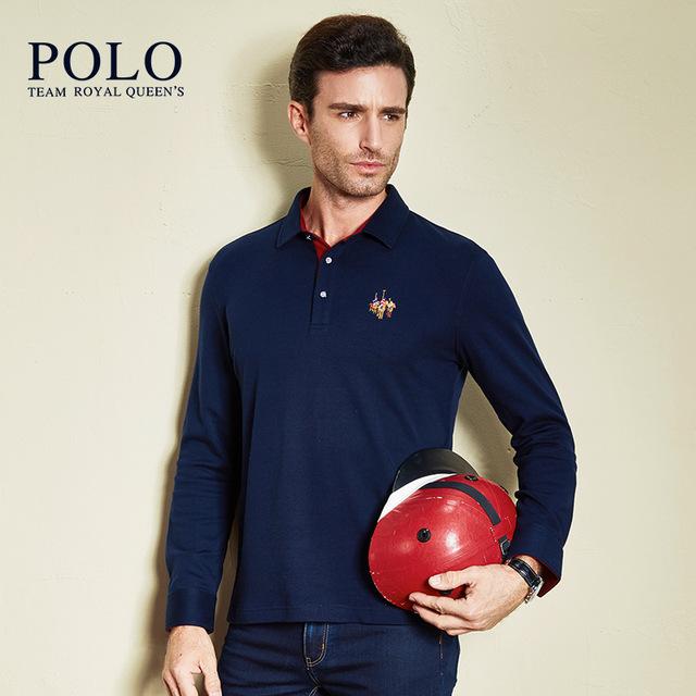 Royal Queen marca marca 2017 del otoño del resorte del nuevo color puro manga larga camisa de los hombres camisa de algodón de la Solapa delgada Para Hombre negocio