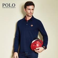 Royal Queen's brand brand 2017 spring autumn new pure color long sleeve shirt men shirt Lapel cotton slim Mens Business