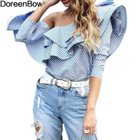 DoreenBow Cotton Striped Women Fashion Top Blouses One Shoulder Off Ruffles Long Sleeve Cool Shirt Blue